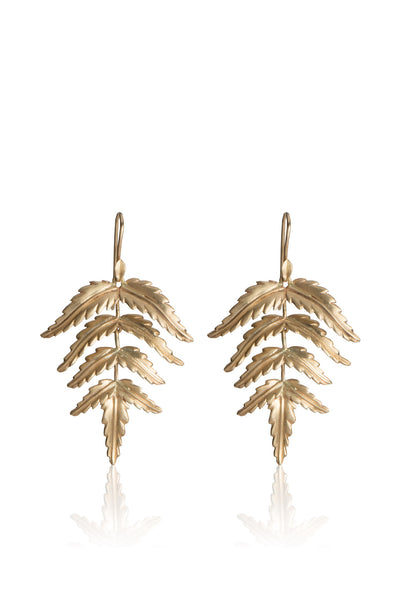 Small 14k gold Fern Earrings