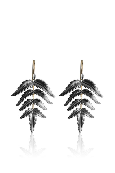 Small oxidized sterling silver Fern Earrings