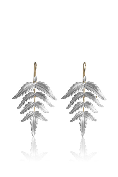 Small sterling silver Fern Earrings