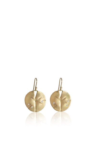 Medium 14k gold Lily Pad Earrings with 6 Diamonds