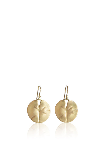 Medium 18k gold Lily Pad Earrings with 6 Diamonds