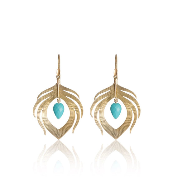 Small Peacock Feather Earring in 14k Gold with Turquoise