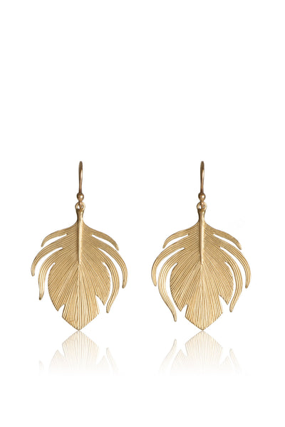 Small 14k gold Peacock Feather Earrings