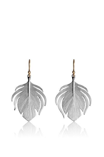 Small Peacock Feather Earrings in Sterling Silver