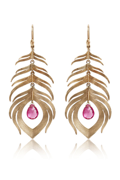 Long Peacock Feather Earrings in 14k Gold with Pink Tourmaline