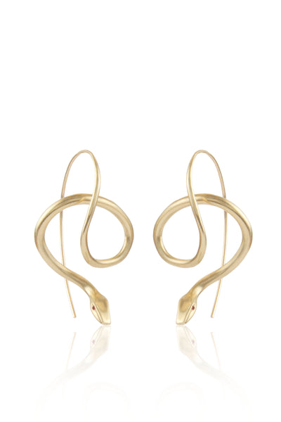 Serpent Earrings in 14K Gold with Ruby