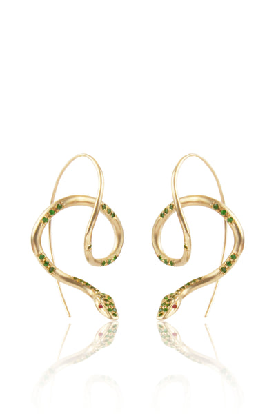 Tsavorite Pavé Amazon Serpent Earrings