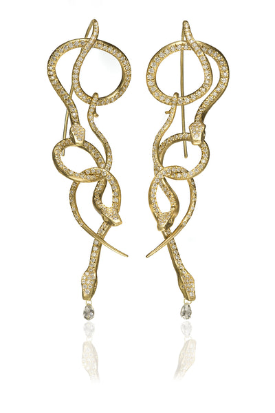 Diamond Pavé Serpent Chandelier Earrings
