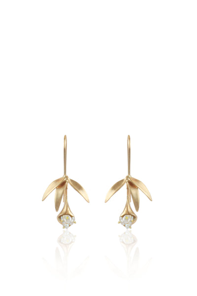 Small 14K Gold Wildflower Earrings with Keshi Pearls