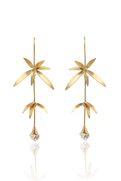 Long Wildflower Earrings in 14K Gold with Keshi Pearls