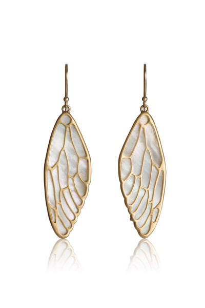 Cicada Wing Earrings in 14k gold and White Mother of Pearl