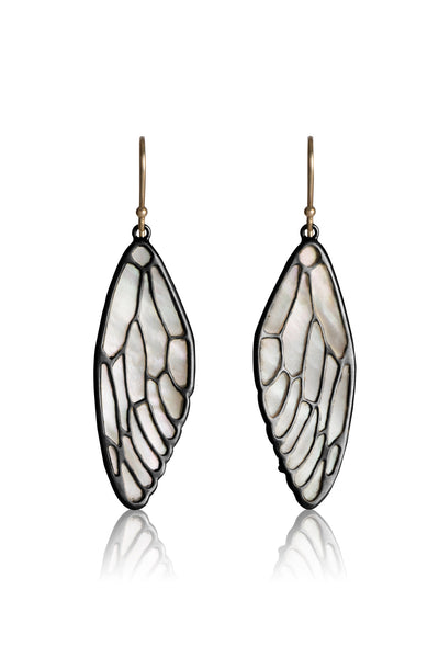 Cicada Wing Earrings in oxidized sterling silver and White Mother of Pearl