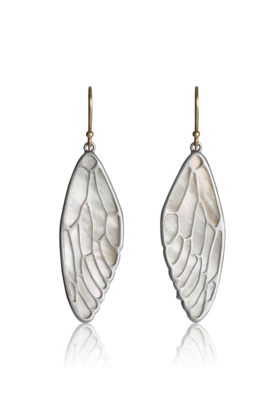 Cicada Wing Earrings in sterling silver and White Mother of Pearl