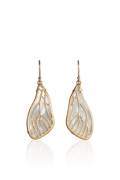 Fly Wing Earrings in 18k Gold and White Mother of Pearl