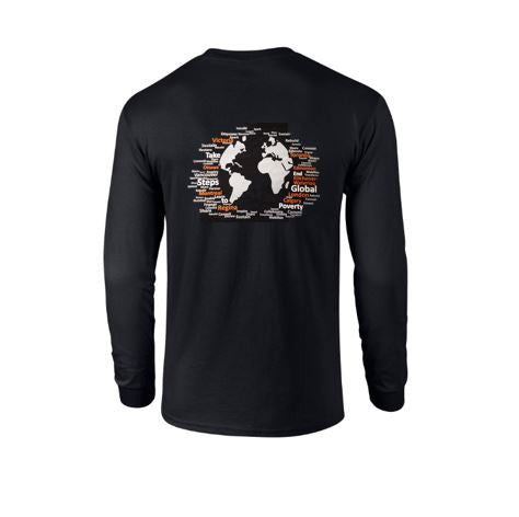 World Map Black Long Sleeve