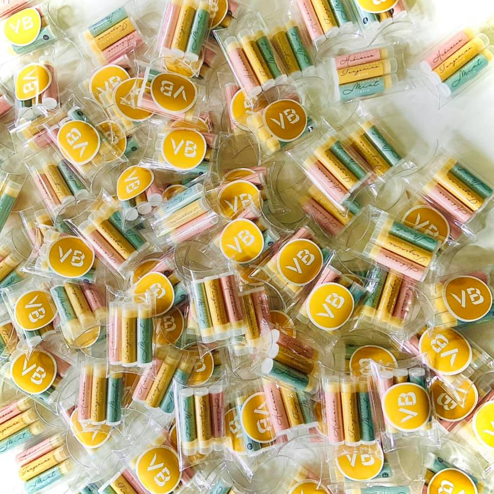 The colorful and fun lip balms we included in our Marshmallow of the month club box