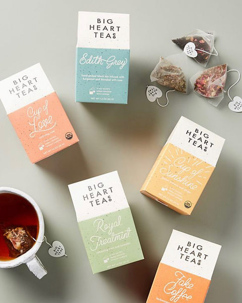 A flatlay of all the different variations of big heart tea