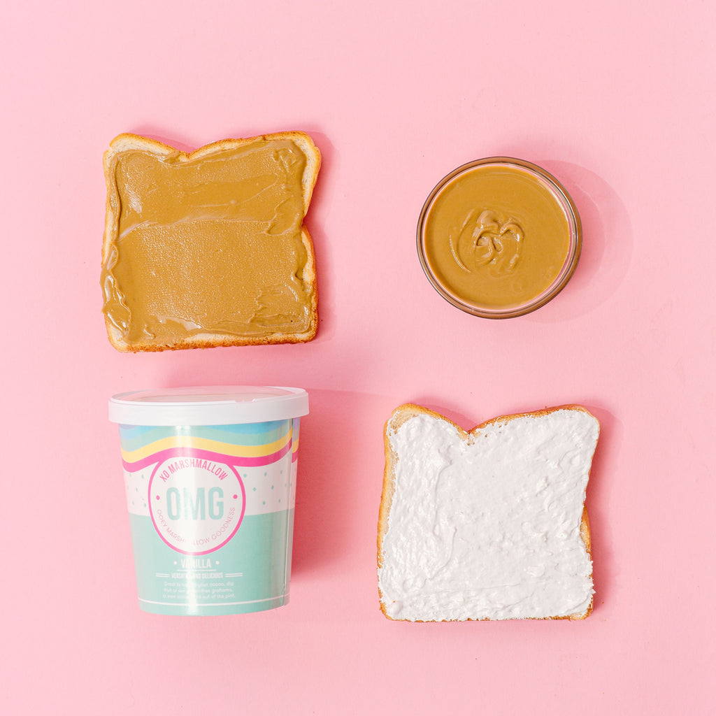Toasted white bread, sunbutter spread, toasted vanilla fluff ooey marshmallow goodness, all smushed together to create a fluffernutter sandwich