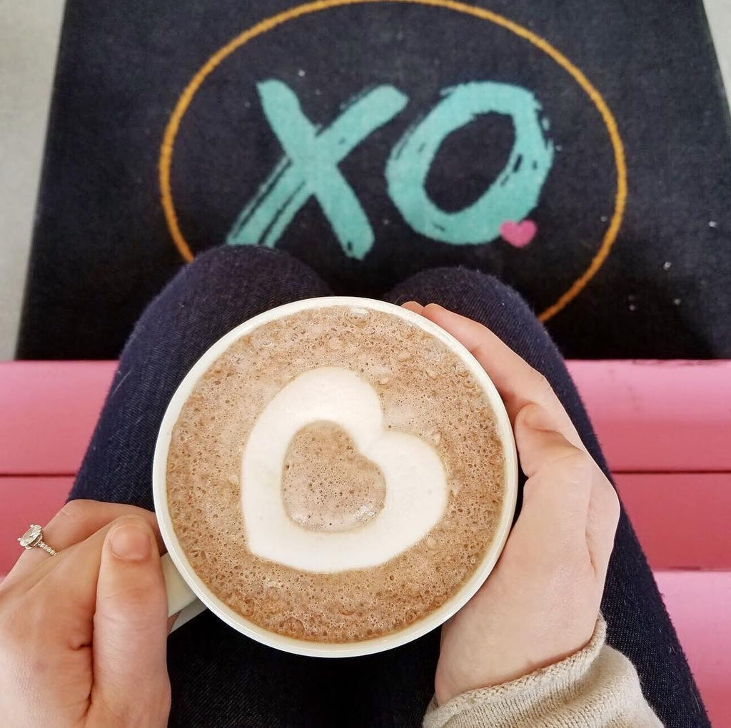 XO Marshmallow heart shaped mallow inside a cup of hot cocoa