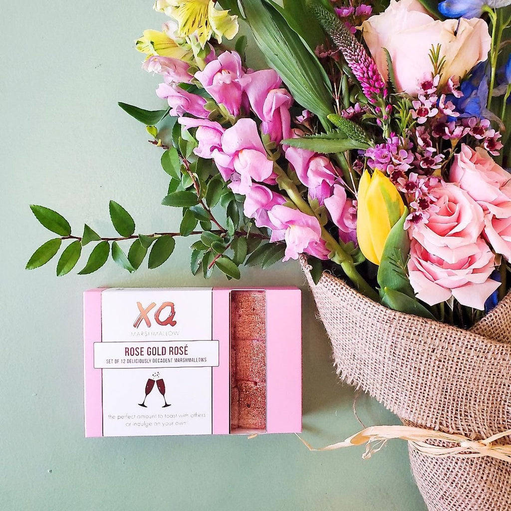 A bouquet of followers and rose gold rosè marshmallows