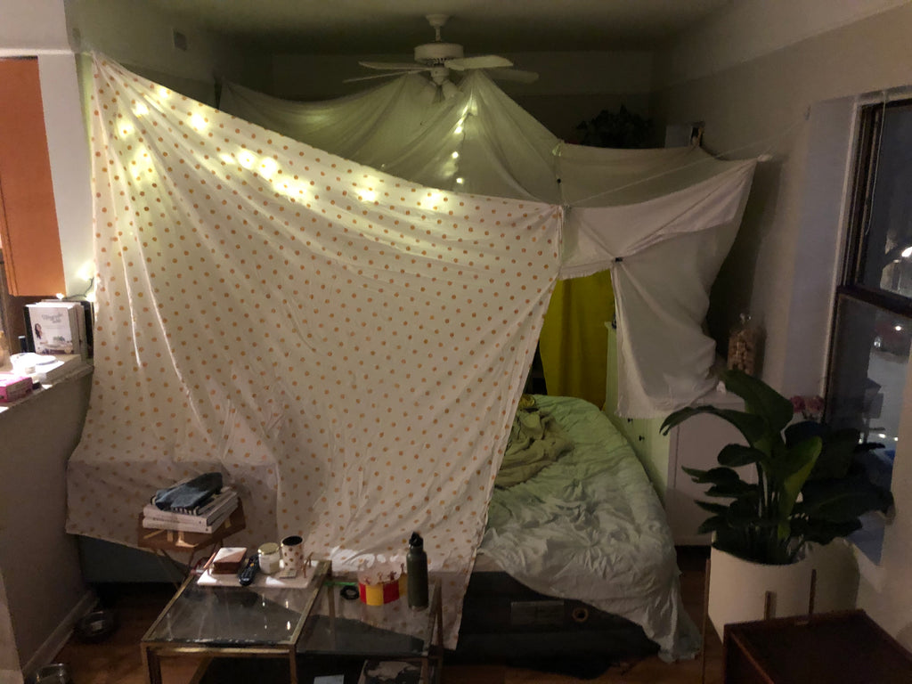 The indoor fort Lindzi created for her husband.