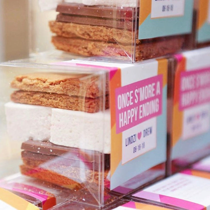 Custom s'mores kits for 2 wedding favors from our co-founder, Lindzi's, wedding