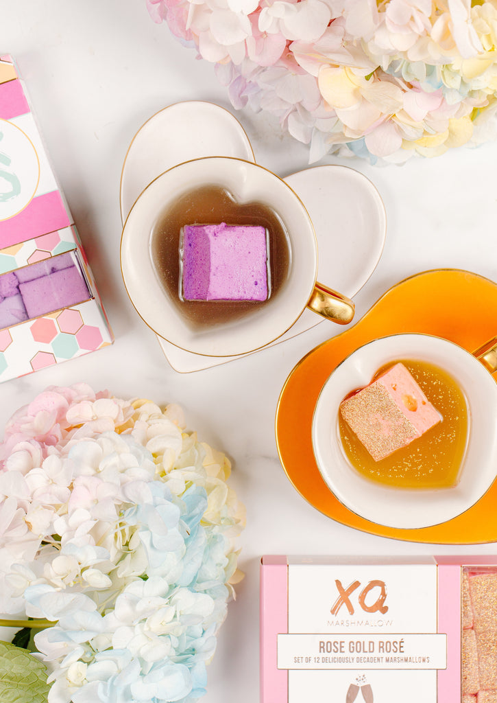 XO Marshmallow lavender honey and rose gold rosè marshmallows paired with tea at a tea party