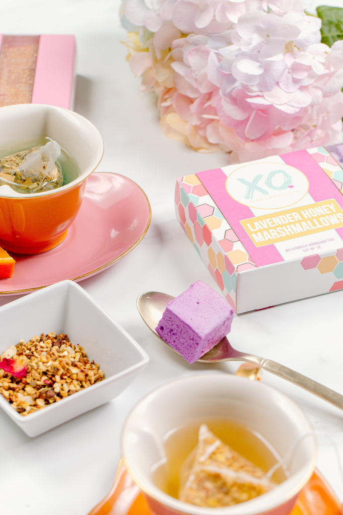 A flat lay of different teas with XO Marshmallows paired with them