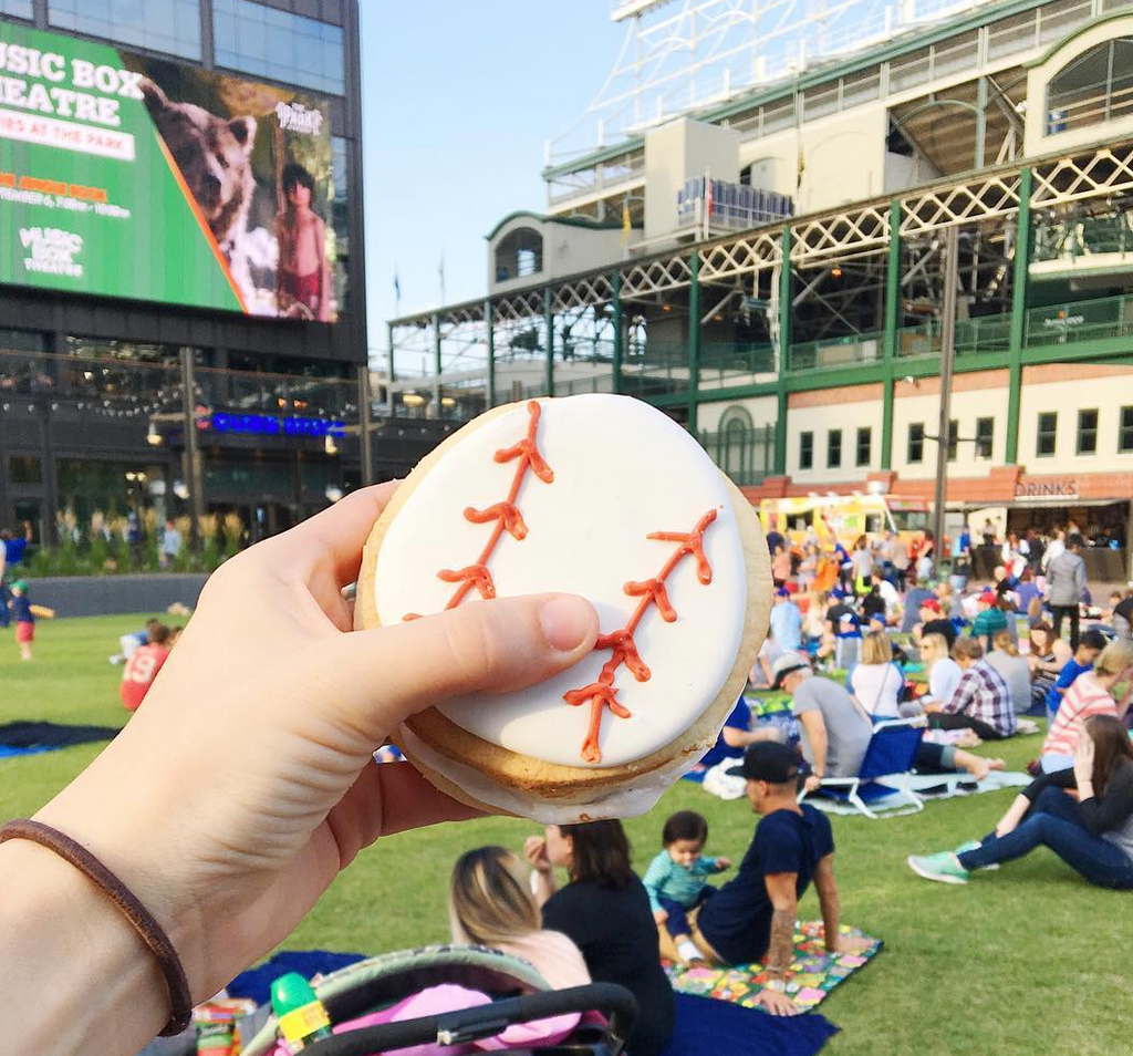 XO Marshmallow made a baseball shaped s'more while watching The Sandlot at Wrigley Field