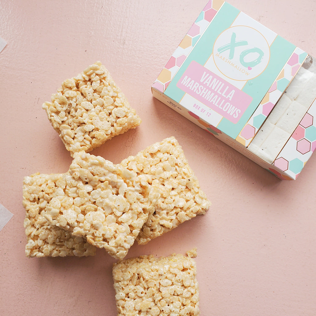 Finished rice crispy treats using XO Marshmallow and our top 3 tips for the perfect treat