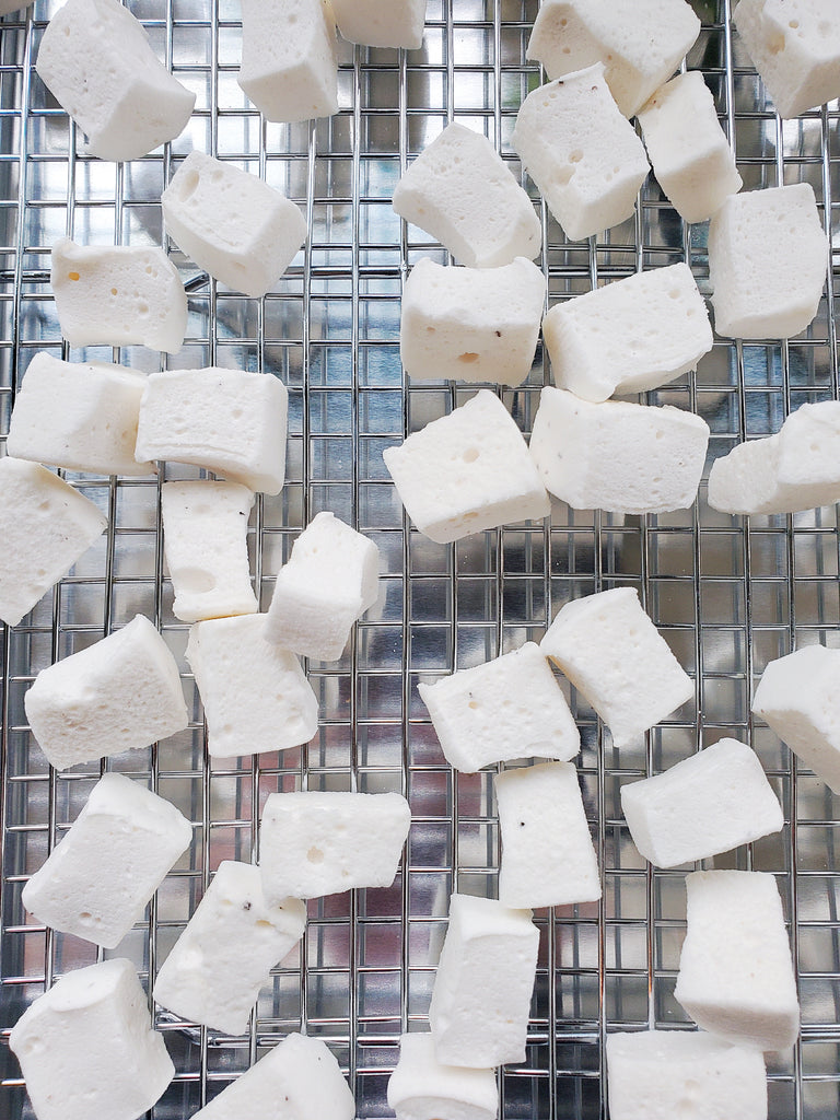 XO Marshmallows cut into minis to dry out before being added to rice crispy treats