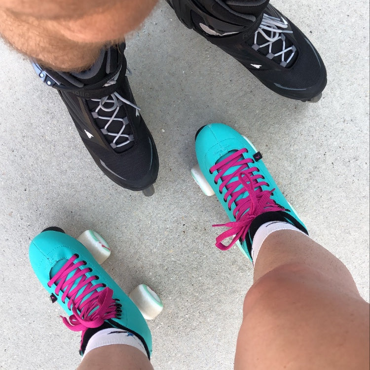 Lindzi Shanks and Drew Phillips try roller skating for the first time in years
