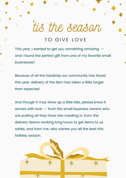 a letter to someone whose present arrives late