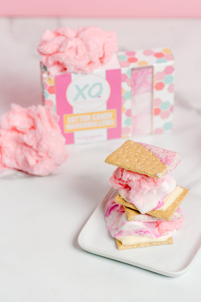 Cotton candy mallows, cotton candy, white chocoalte, dipped grahams