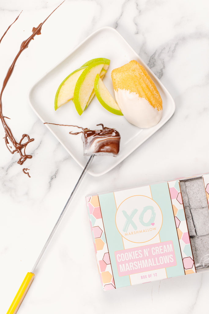A close up for the XO marshmallow cookies and cream marshmallows used to dip in the fondue chocolate