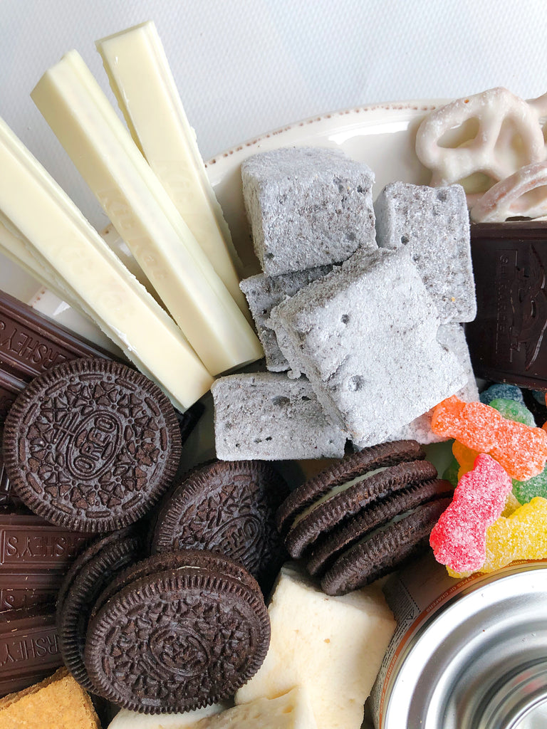 Super detailed shot of our cookies and cream marshmallows, kitkat's, oreos, and sour patch kids