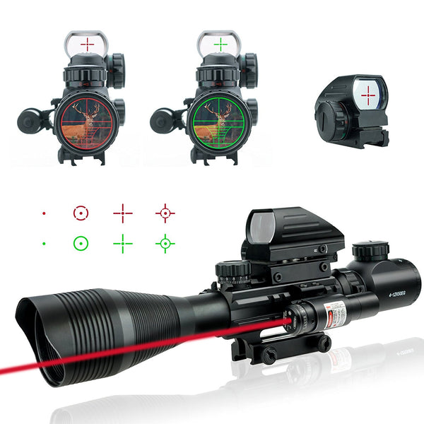 Lirisy 3 in 1 Tactical Rifle Scope 4-12x50EG Dual Illuminated Optics
