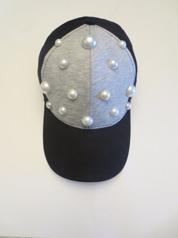 Black/Gray Colorblock Pearl Baseball Cap
