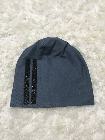 Denim Rhinestone Stripes Beanie