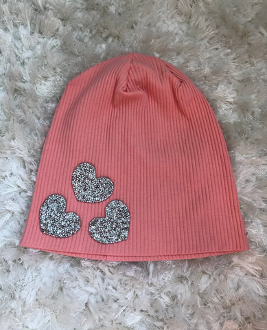 Silver Rhinestone Hearts - Coral Ribbed Beanie