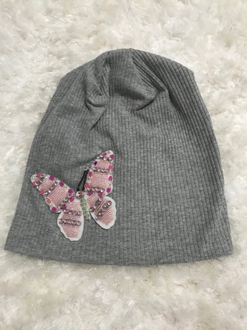 Light Gray Ribbed Beanie - Large Colorful Butterfly