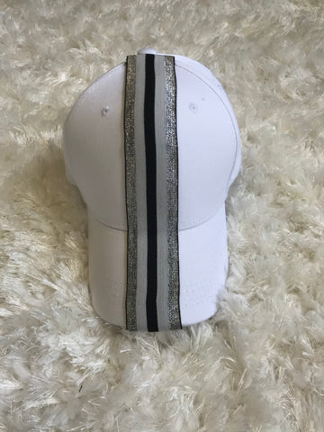 Silver/Black/White Stripe - White Cotton Cap