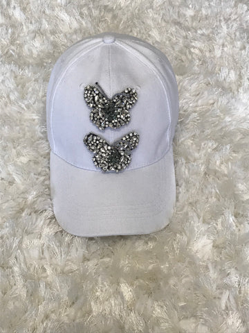 White Crystal Butterfly Cap
