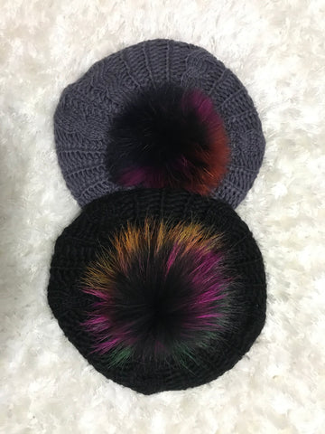 Cable Beret - Multicolor Pom