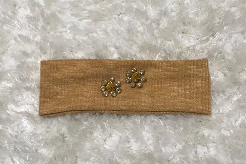 Mustard Sweater Flat Band - Flower Rhinestone Design