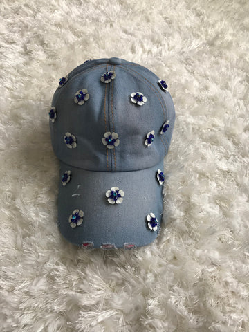 White/Blue Crystal Flower - Denim Cap