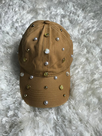 Disco Gems + Pearls Yellow Vintage Cap