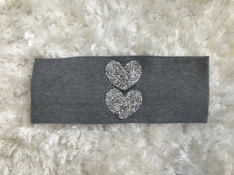 Silver Rhinestone Hearts - Gray Wide Band