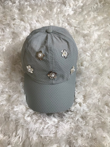Metallic Flowers - Light Gray Dry Fit
