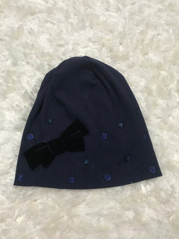 Navy Ribbed Velour Bow Beanie with Navy Stones